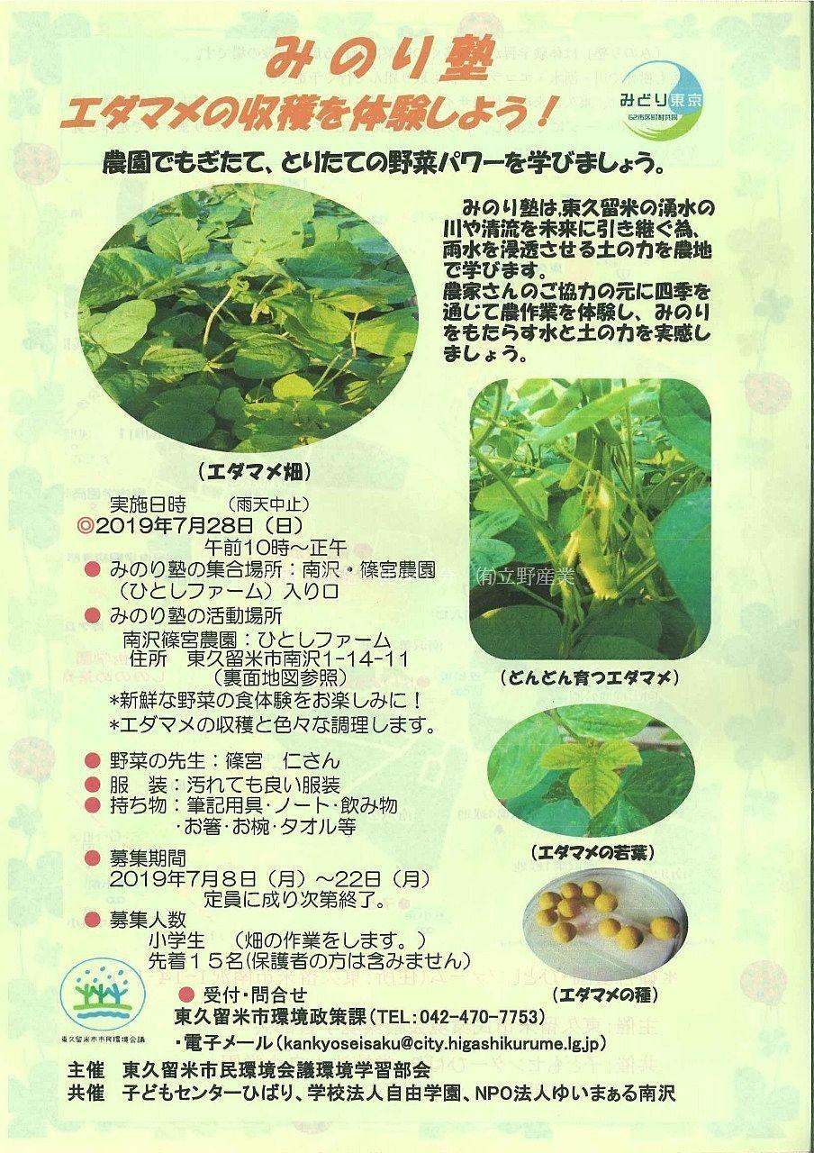 枝豆の収穫体験ができるイベントです@みのり塾